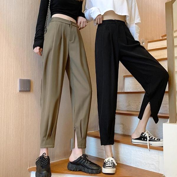 大碼西裝褲女直筒寬鬆高腰哈倫褲胖mm褲子顯瘦百搭夏季束腳休閒褲 嬡孕哺