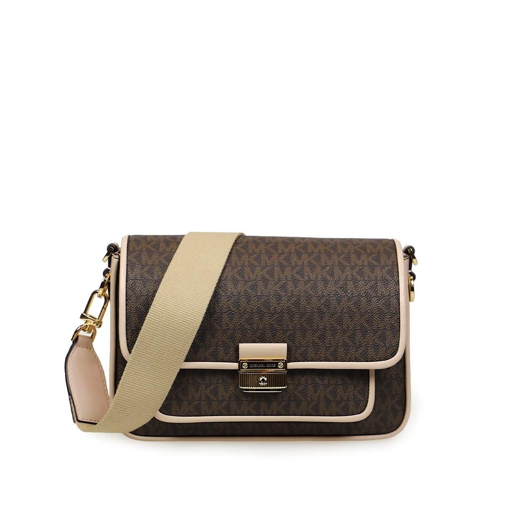 Michael Kors Bradshaw Brown Pink Medium Crossbody Bag