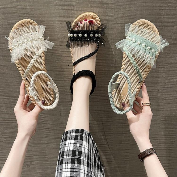 草編鞋女 珍珠羅馬涼鞋女仙女風2021年夏季新款波西米亞網紗編織平底沙灘鞋【新品】