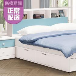 HD 雲朵藍白色5尺床頭箱