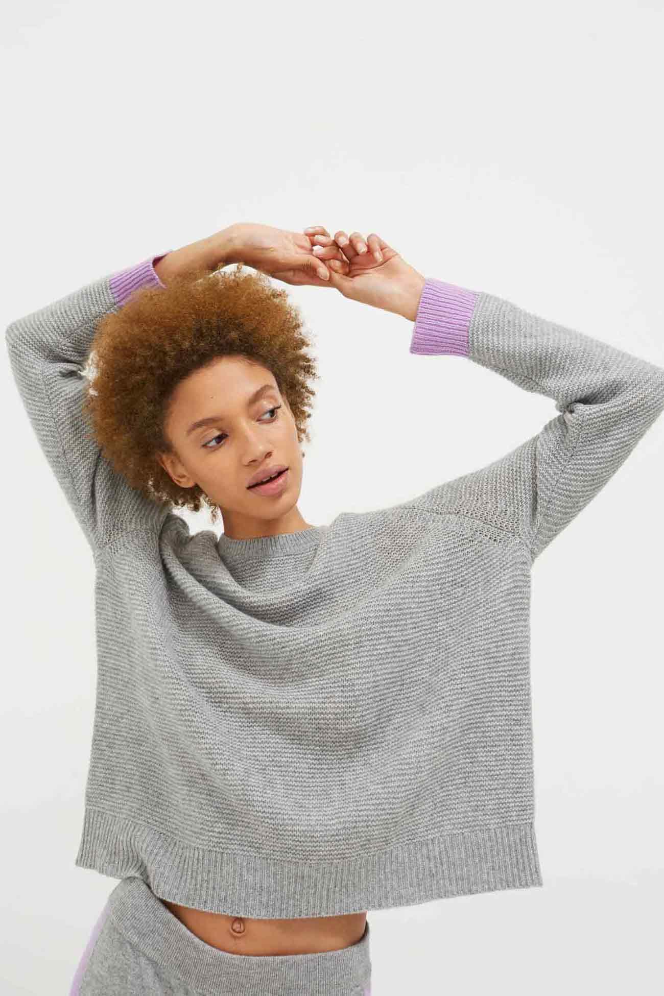 Grey Garter Stitch Wool-Cashmere Sweater