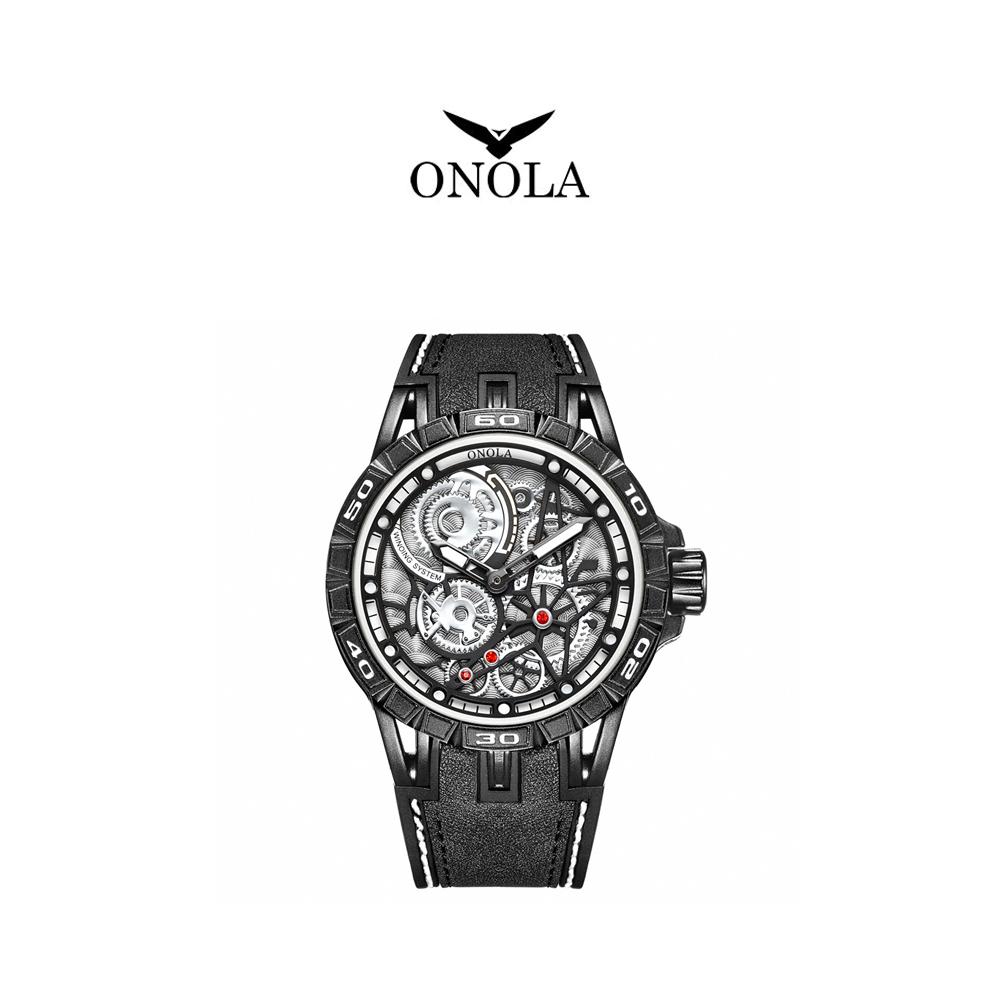 ONOLA 義大利品牌 黑白帥氣軍風時尚男姓石英腕錶-ON3807
