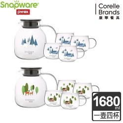 康寧 SNAPWARE 耐熱玻璃茶壺組(圓) - 二款可選