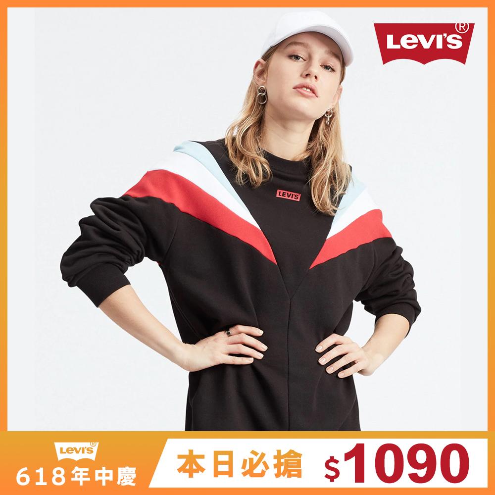 Levis 女款 大學T洋裝 / 撞色拼接 / 迷你Box Logo-熱銷單品
