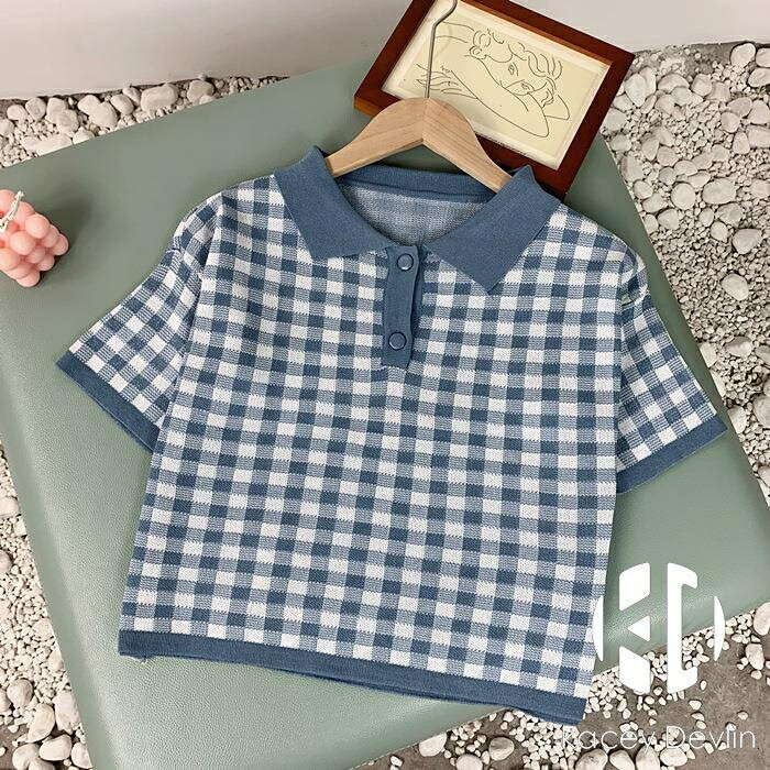 格子短袖t恤polo衫寬鬆高腰針織短款上衣女夏【聚物優品】
