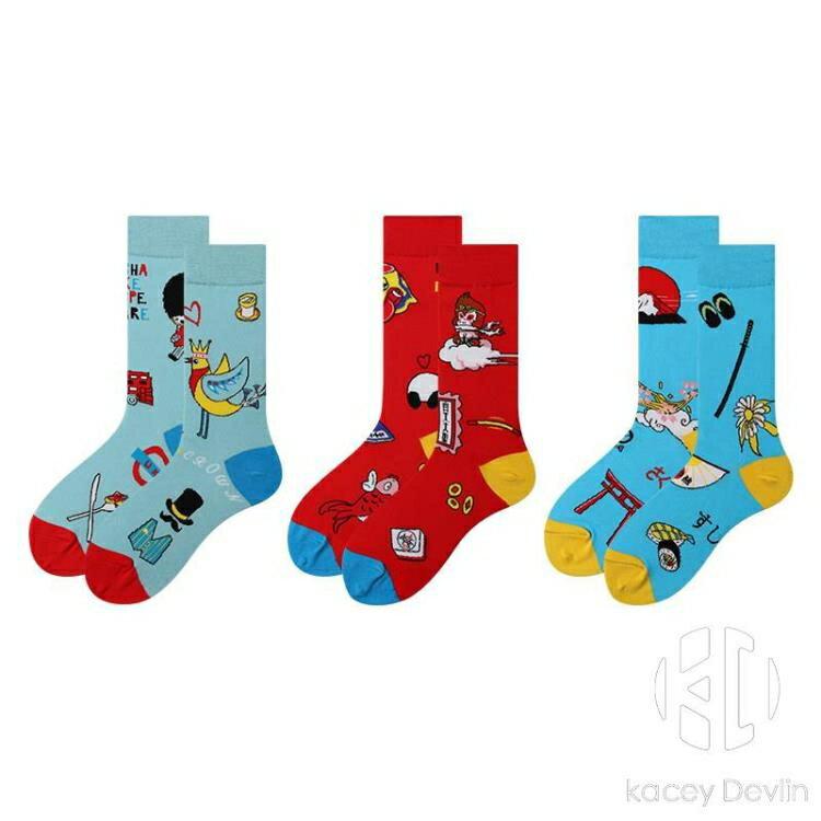情侶棉襪不對稱創意卡通熊貓長襪男女潮襪子中筒【聚物優品】