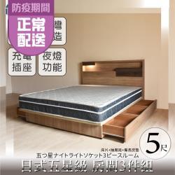 IHouse-日系夢幻100 五星級 房間3件組(床片+6抽底+備長炭墊)-雙人5尺