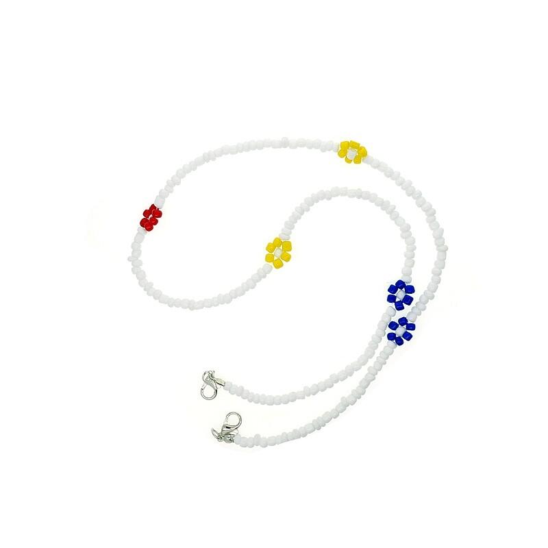 微笑生活韓國3色花朵米珠口罩鍊