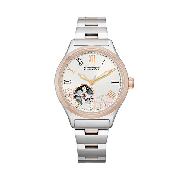 【Citizen星辰】LADY'S閃耀花朵鏤空羅馬機械腕錶-簡約款/PC1008-89A/台灣總代理公司貨享兩年保固