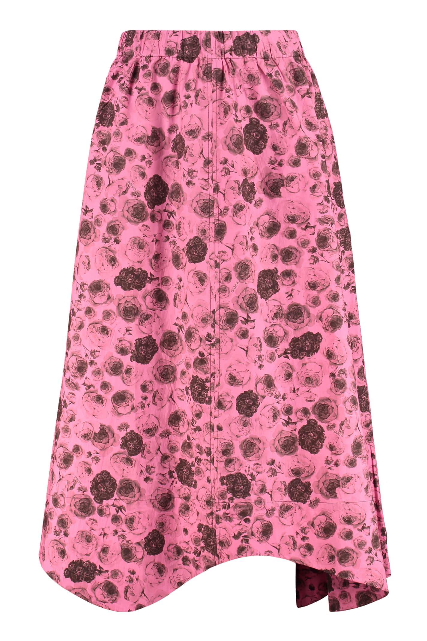 Ganni Printed Cotton Skirt