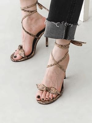 韓國空運 - Ribbon Free Strap Python Pattern Kill Heel Sandals 5362 涼鞋
