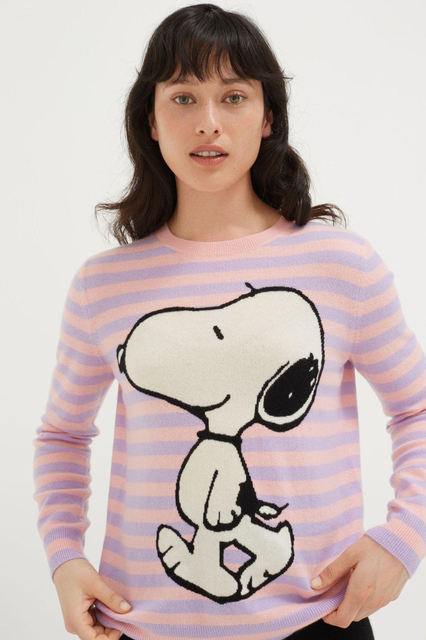 Lilac Stripe Snoopy Cashmere Sweater