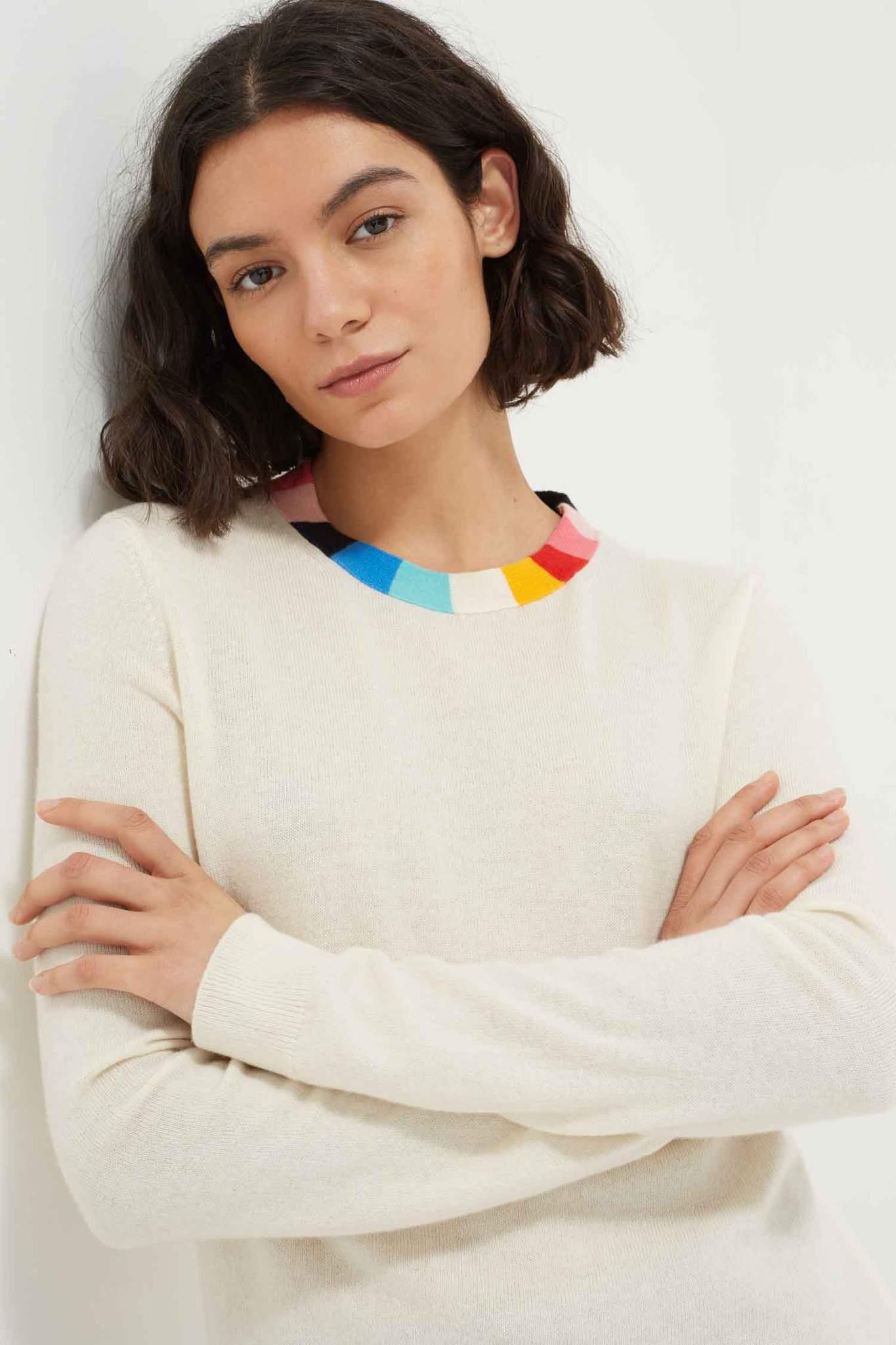Rainbow Stripe Collar Wool-Cashmere Sweater