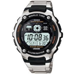 CASIO 卡西歐 10年電力金屬風計時手錶-銀(AE-2000WD-1A)