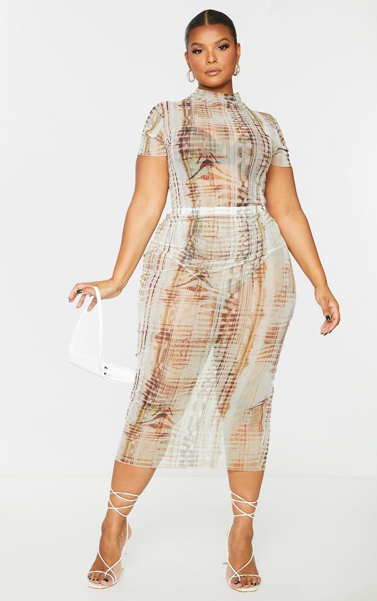 Plus Beige Textured Print Short Sleeve Mesh Bodysuit