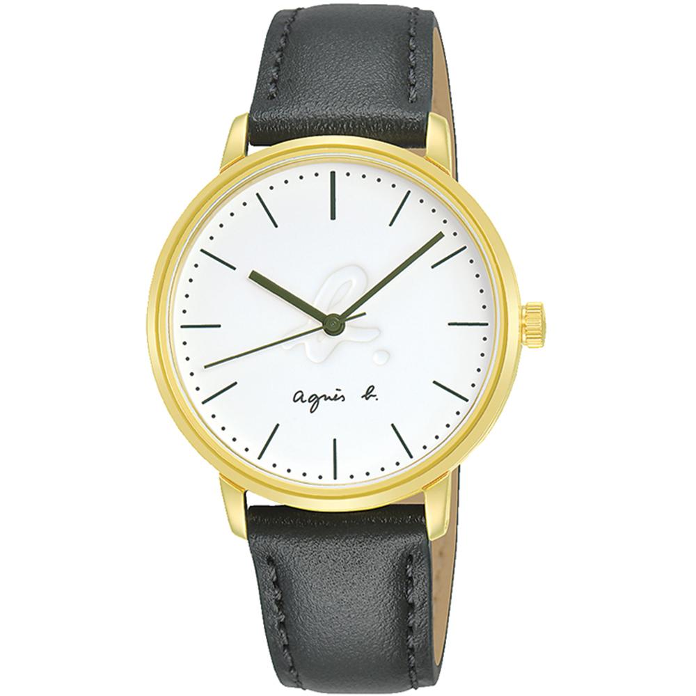 agnes b. LOGO浮雕簡約時尚腕錶/33mm (VJ21-KYW0G/BH8053X1)