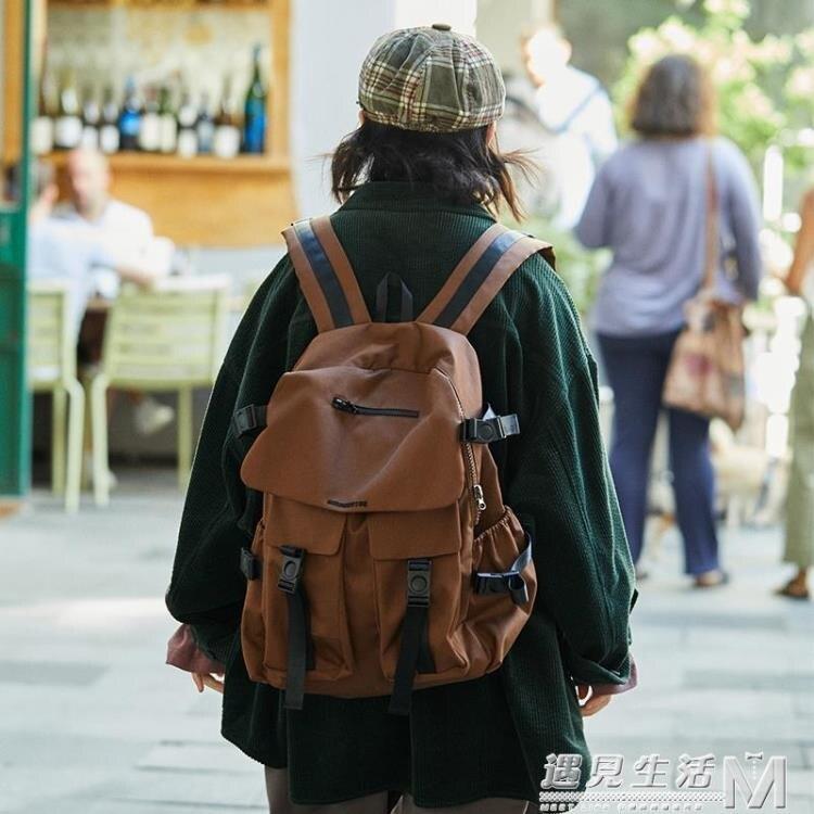 大學生多功能上學書包男女戶外休閒旅游防水後背包 麥田印象