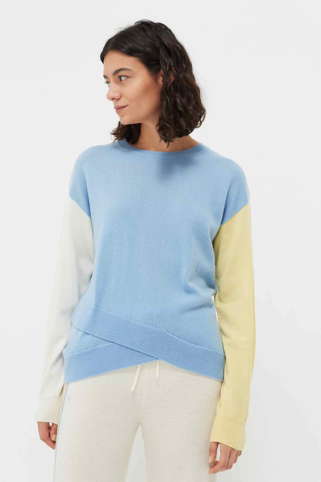 Venetian-Blue Cross Hem Wool-Cashmere Sweater