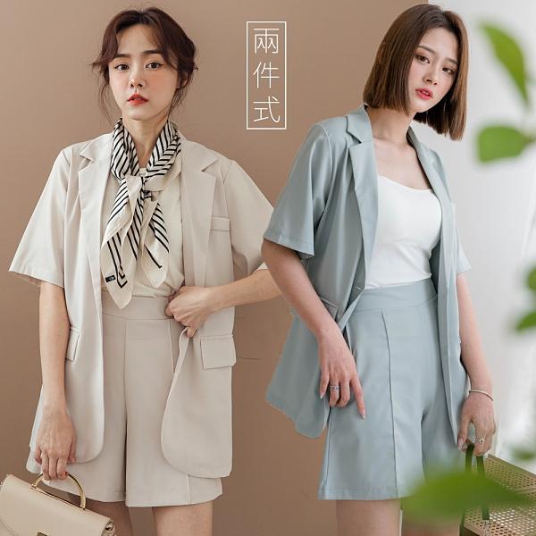 MIUSTAR 兩件式!簡約時尚短袖西外+中線短褲套裝(共3色)【NJ1633】預購