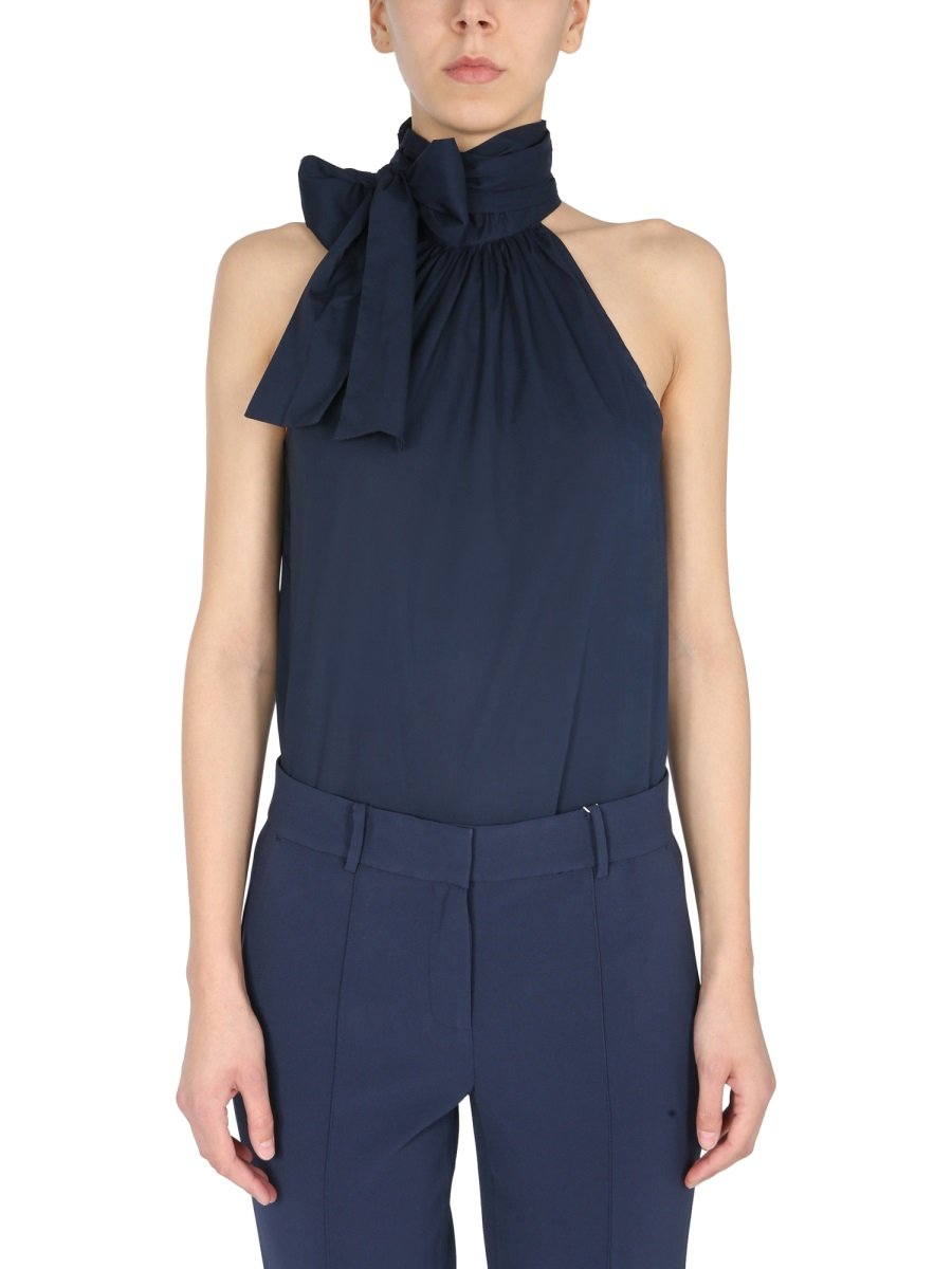 HIGH NECK TOP WITH BOW
