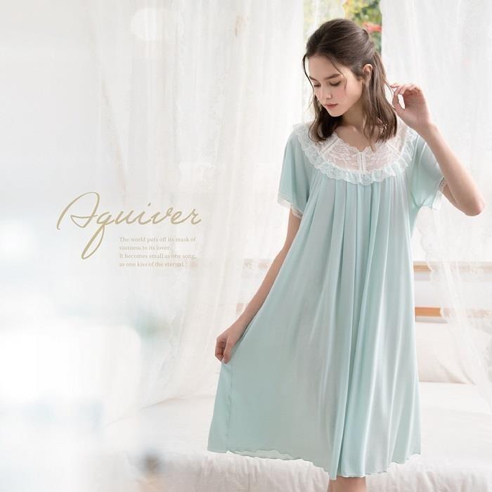 ROSEMAID羅絲美 細緻蕾絲短袖洋裝睡衣/居家服11109