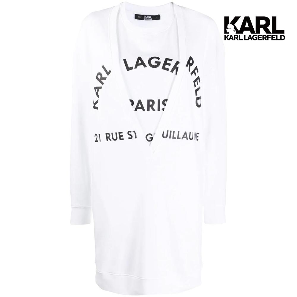 【KARL LAGERFELD】KARL地址LOGO運動連身裙-白 (原廠公司貨)