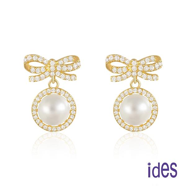 ides愛蒂思 時尚輕珠寶淡水貝珠耳環/氣質蝴蝶結