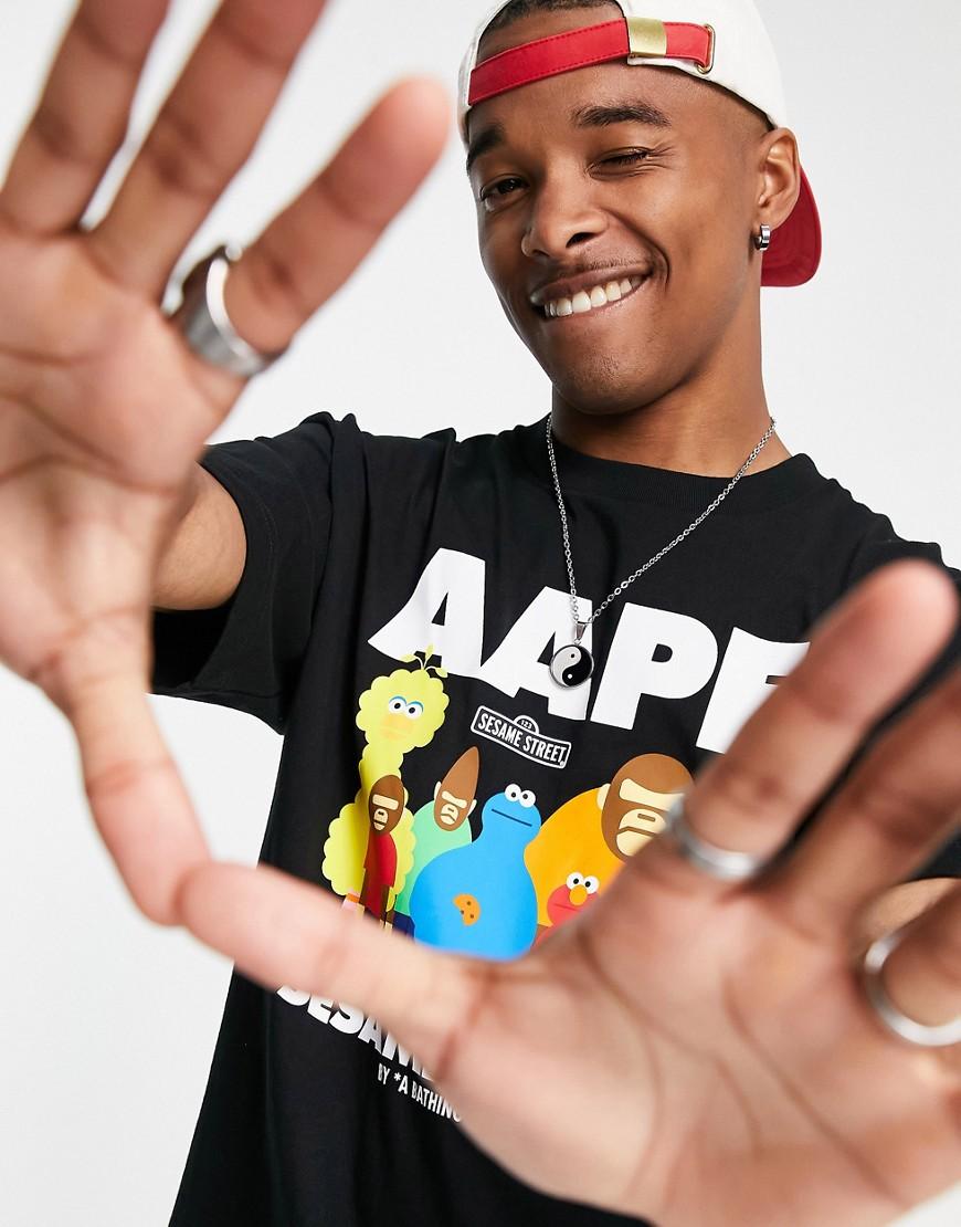 AAPE By A Bathing Ape x Sesame Street aape friends t-shirt in black