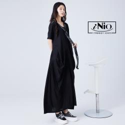 【iNio】不敗女神舒適系抓皺修身長洋-現貨快出【C1W3038】