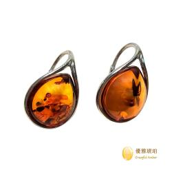 優雅琥珀 經典蜂蜜色琥珀  端莊氣質耳環
