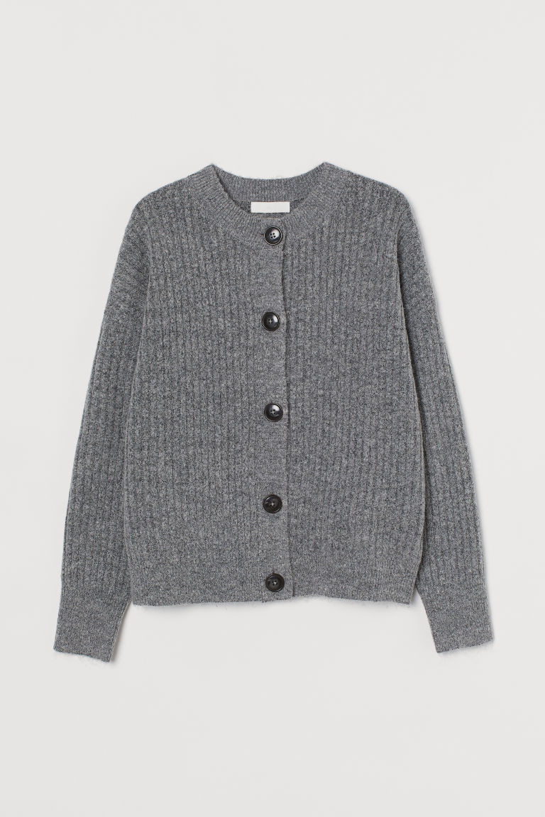 H & M - 羅紋針織開襟衫 - 灰色