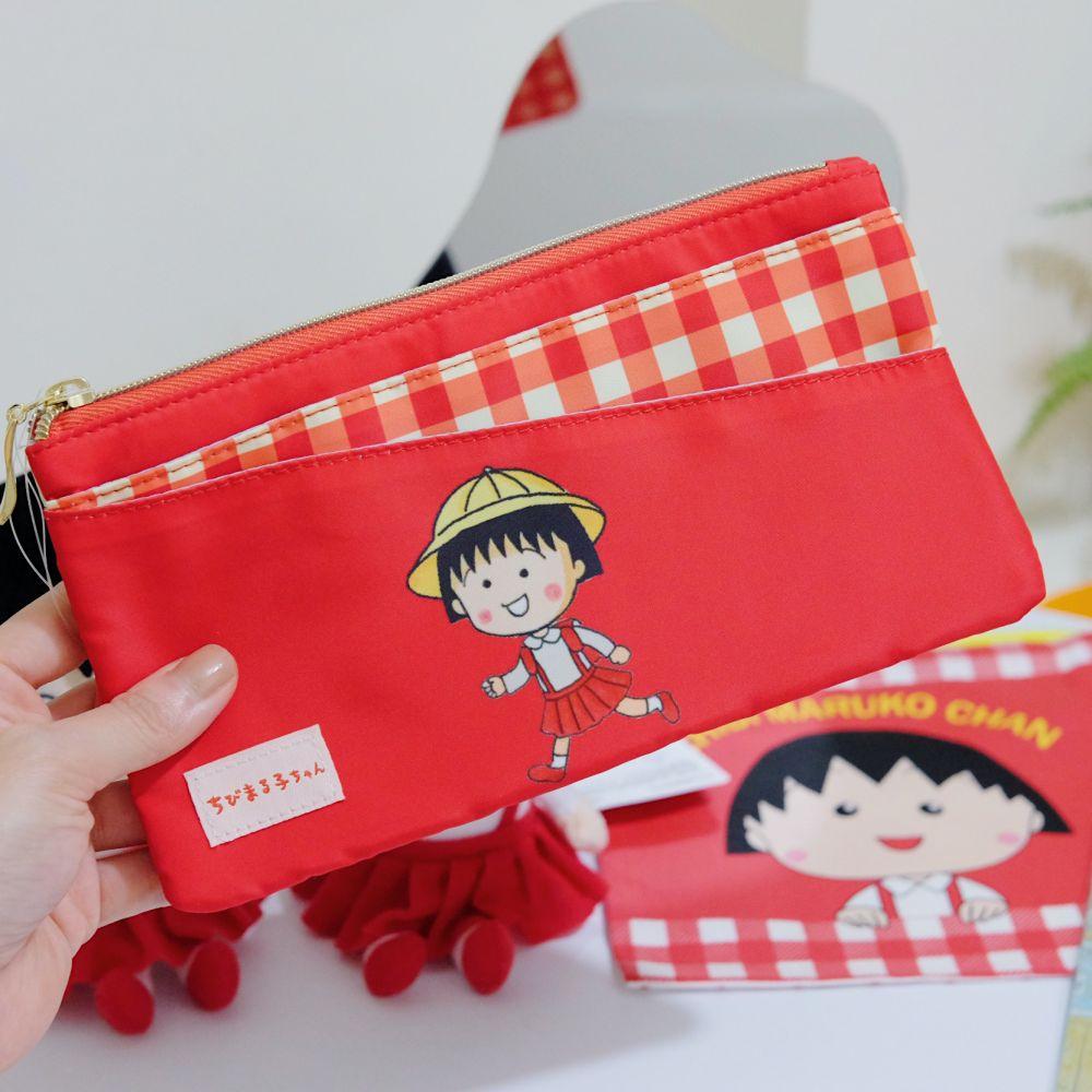 《櫻桃小丸子》日本商品 小丸子多功能口罩收納袋 口罩夾 筆袋 化妝包