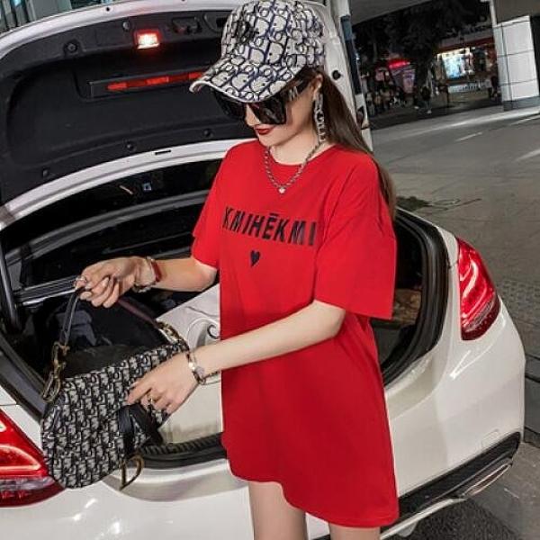 字母圓領上衣簡約短袖M-XL夏裝中長款大碼寬鬆印花棉短袖t卹NE02-7822.皇潮天下