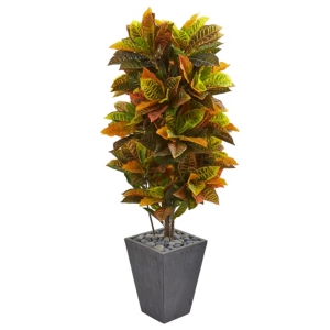 Nearly Natural 5.5' Croton Artificial Plant in Slate Planter - Real Touch