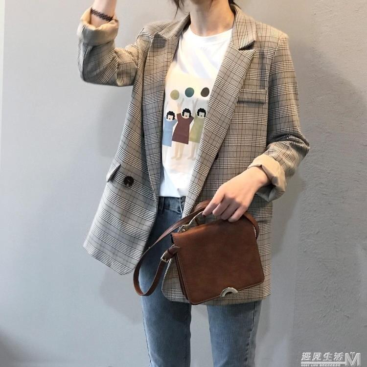 格子西裝外套女復古春秋韓國小個子休閒英倫風網紅小西服上衣