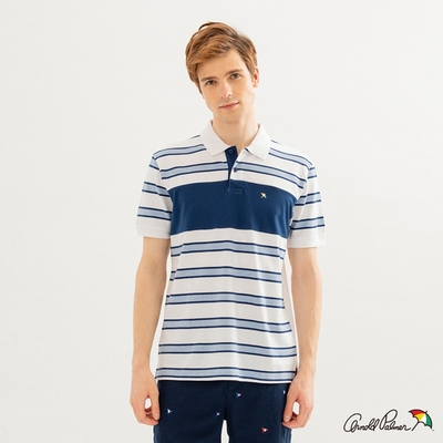 Arnold Palmer -男裝-條紋色塊拼接彈性網眼POLO衫-白色