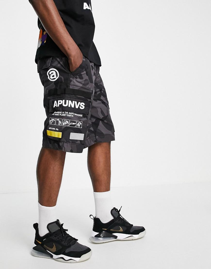 AAPE By A Bathing Ape branded camo cargo shorts in black