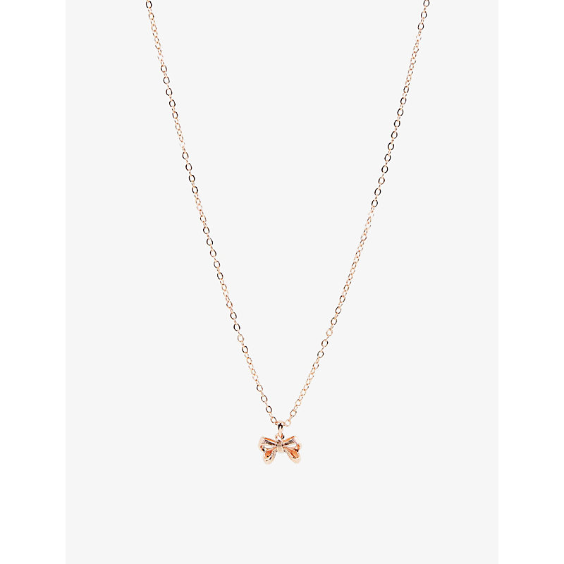 Petrae rose gold-tone brass pendant necklace