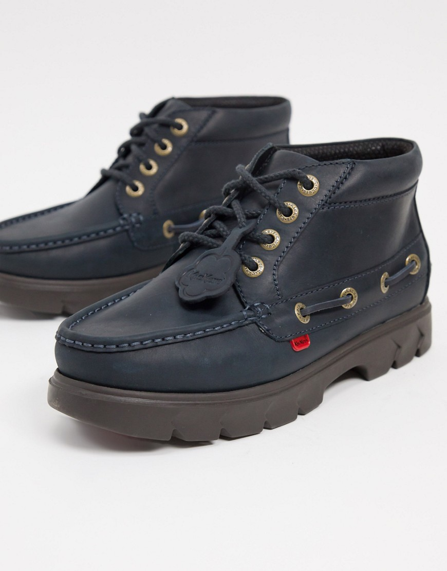 Kickers lennon leather lace up boots in dark blue-Navy