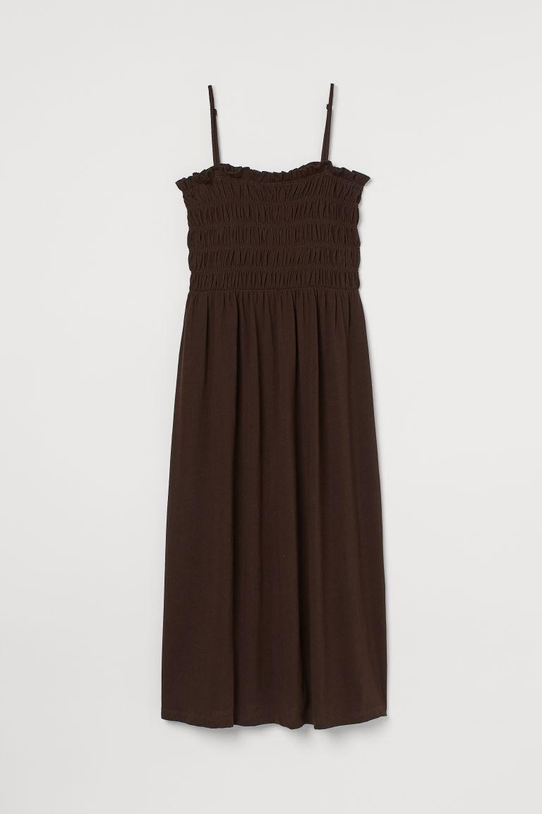 H & M - 縮褶細節洋裝 - 褐色