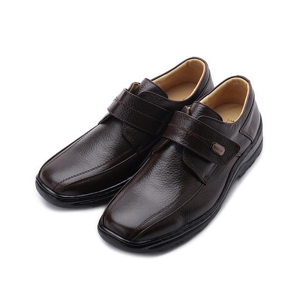 BONJO 羊皮飾釦魔鬼氈休閒皮鞋 咖 男鞋