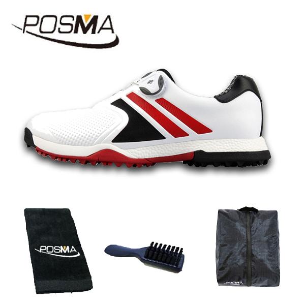 高爾夫男士防水運動鞋旋轉鞋扣 男鞋 golf shoes GSH118WBRED