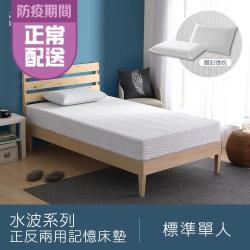 House Door 好適家居 水波系列-正反兩用舒壓記憶床墊20cm厚-單人3尺