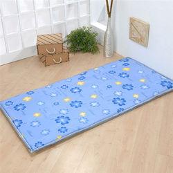 【莫菲思】捷居-簡易透氣折疊床墊-單人(藍幸運草)
