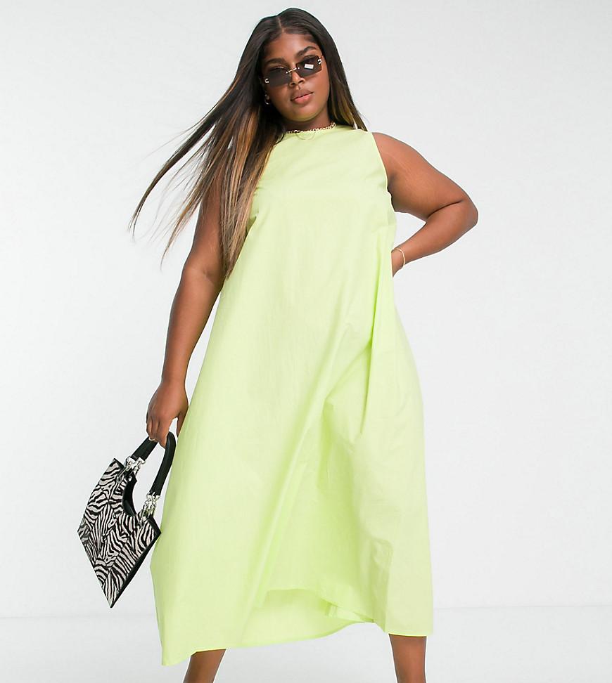 Native Youth Plus oversized swing dress in lime poplin-Green