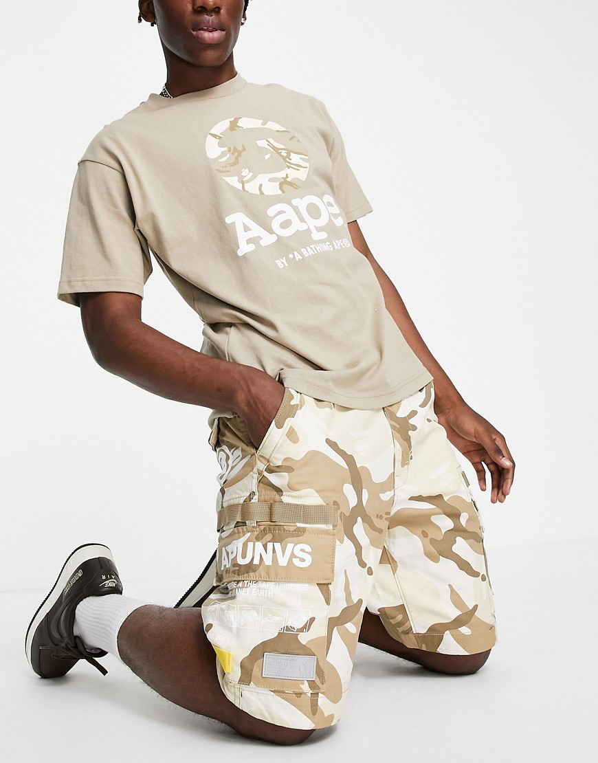 AAPE By A Bathing Ape branded camo cargo shorts in tan-Brown
