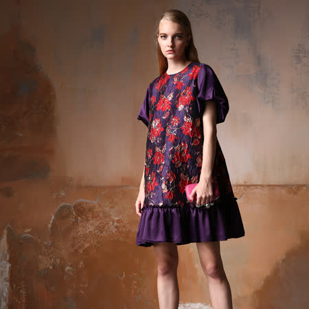 【PANGCHI 龐吉】瀲灩瑰紫花苞袖小禮服洋裝(2028022-25/26)
