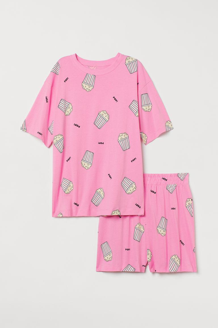 H & M - 棉質平紋睡衣套裝 - 粉紅色