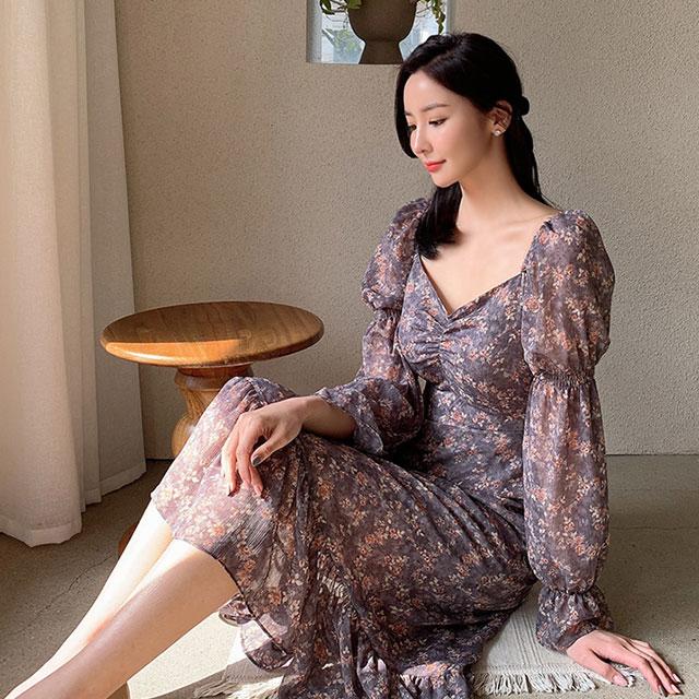 雪紡花朵層次洋裝(紫色)