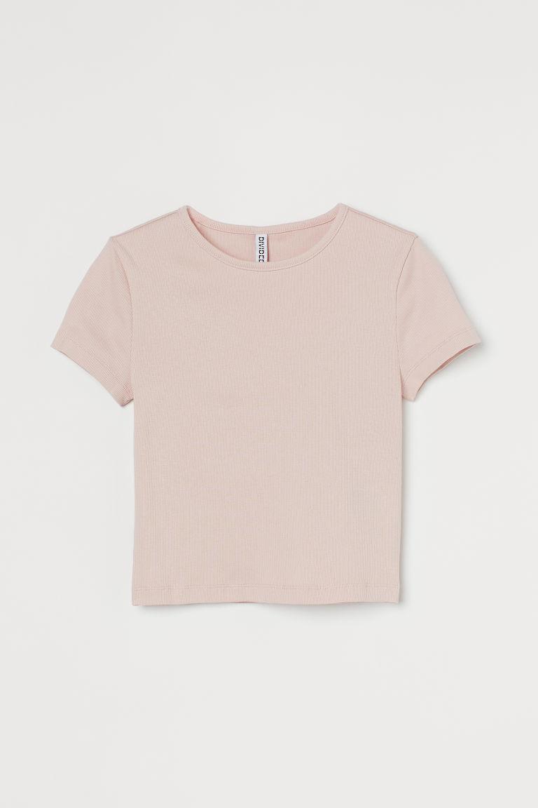 H & M - 短版羅紋上衣 - 粉紅色